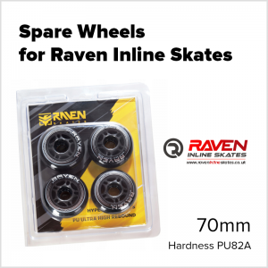 Spare Wheels for Raven Inline Skates 70mm PU82A Silicone Rubber Wheel - 4 wheels UK